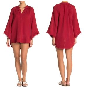 NEW Red Carter Gauzy Popover Tunic Cover Up